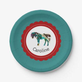 Niedliches Pony mit Blauem und Rotem Pappteller