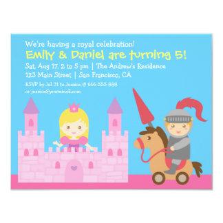 Niedliches Prinzessin-und Ritter-Geburtstags-Party 10,8 X 14 Cm Einladungskarte