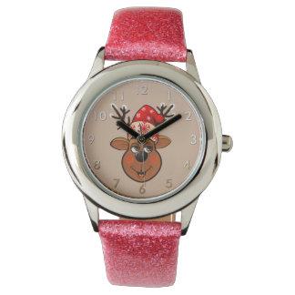 Niedliches Ren mit Weihnachtshut Armbanduhr