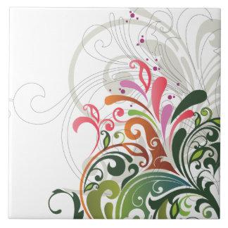Niedliches Retro rosa grünes Blumen Keramikfliesen