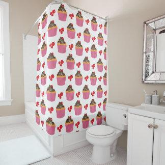 Niedliches rosa Kuchen-und Kirschmuster Duschvorhang