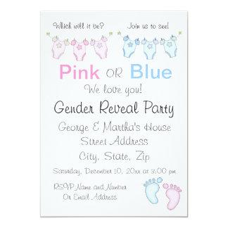 Niedliches rosa oder blaues Geschlecht decken Karte