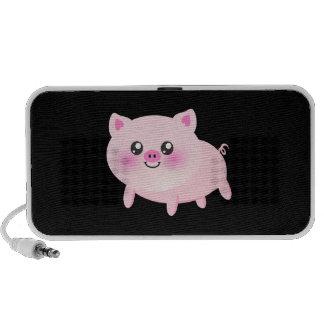 Niedliches rosa Schwein auf Schwarzem Lautsprecher