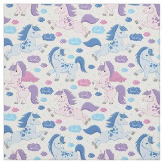 Niedliches rosa und blaues Unicornsmuster Gewebe Stoff