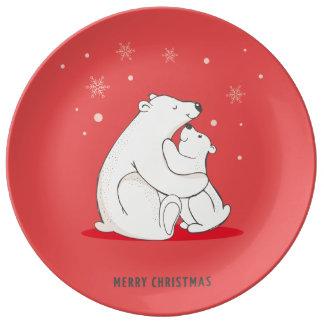 Niedliches rotes Weihnachtspolare Bären Porzellanteller