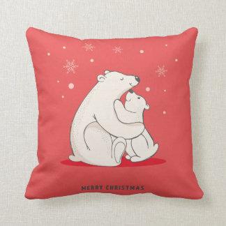 Niedliches rotes Weihnachtspolare Bären Zierkissen