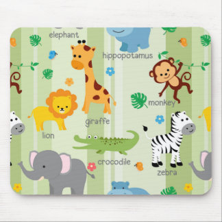 Niedliches Safari-Tier-Kinderzimmer-Muster Mousepad