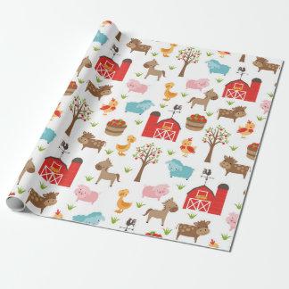 Niedliches Scheunen-und Vieh-Verpackungs-Papier Geschenkpapier