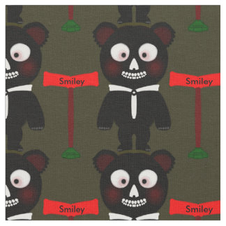 Niedliches schwarzes Cartoon-Bär Personalizable Stoff