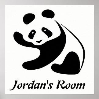 Niedliches Schwarzweiss-Panda-Kinderzimmer Poster