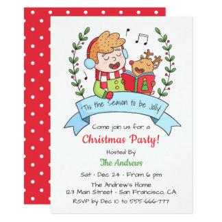 Niedliches singenjungen-und Ren-WeihnachtsParty Karte