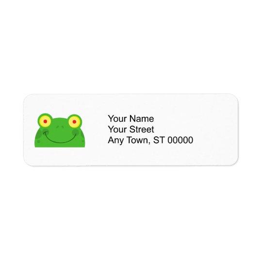 niedliches spähendes Cartoonfrosch Froggygesicht Rücksendeetiketten