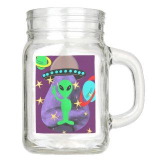 Niedliches Spaß-Cartoon-alien im Weltraum Einmachglas