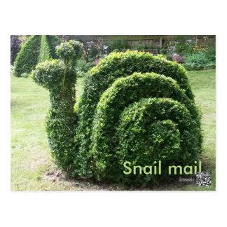 Niedliches Spaßgrün des Topiarygartensnail mail Postkarte