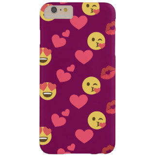Niedliches süßes rosa Emoji Liebe-Herz-Kuss-Muster Barely There iPhone 6 Plus Hülle
