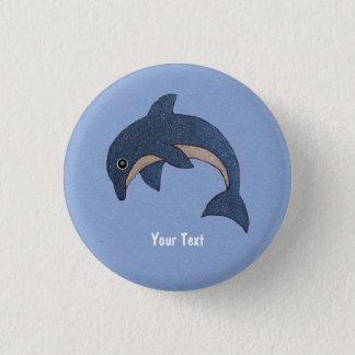 Niedliches tiefes Blau, das springenden Delphin Runder Button 2,5 Cm