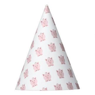 Niedliches überraschtes rosa Schwein Partyhütchen