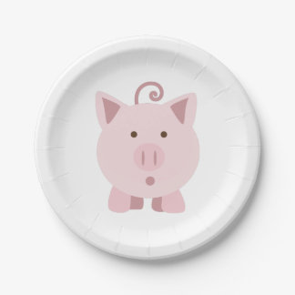 Niedliches überraschtes Schwein Pappteller
