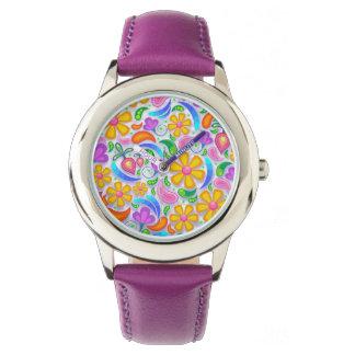 Niedliches und buntes gelbes und lila Blumen Armbanduhr