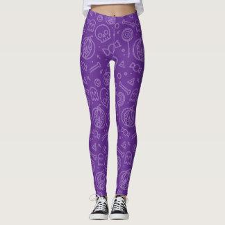 Niedliches und einfaches lila Halloween-Muster Leggings