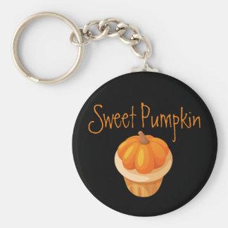 Niedliches und flaumiges süßes Kürbis-Muffin Schlüsselanhänger