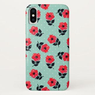Niedliches und Girly rotes Blumen-Muster iPhone X Hülle