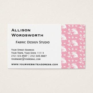 Niedliches Vintages Häschen-Kaninchen-Muster-Rosa Visitenkarte