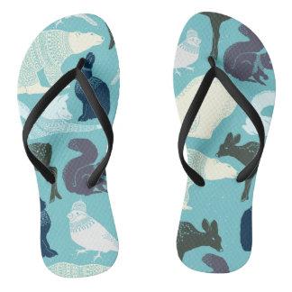 Niedliches Waldtier-Muster Flip Flops