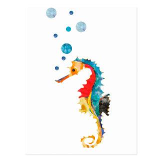 Niedliches Watercolor SEEpferdeSeepferd Ozean-Tier Postkarte