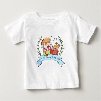 Niedliches Weihnachten singt Jungen-und Baby T-shirt