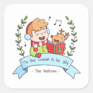 Niedliches Weihnachten singt Jungen-und Quadrat-Aufkleber