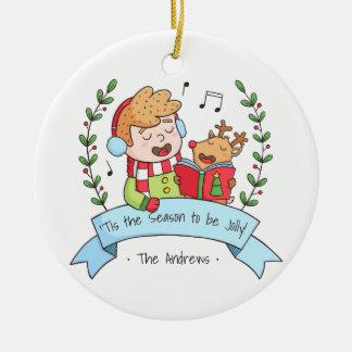 Niedliches Weihnachten singt Jungen-und Rundes Keramik Ornament