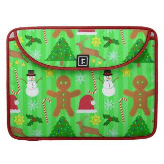 Niedliches Weihnachtscollagen-Feiertags-Muster Sleeve Für MacBook Pro