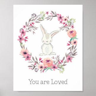 Niedliches weißes Kaninchen werden Sie geliebt Poster