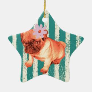 niedliches Welpengänseblümchengrün stripes Keramik Ornament