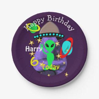 Niedliches Weltraum-alien-Themed Geburtstags-Party Pappteller