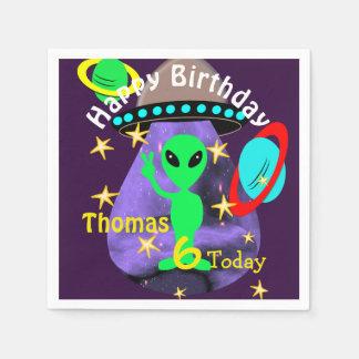 Niedliches Weltraum-alien-Themed Geburtstags-Party Serviette