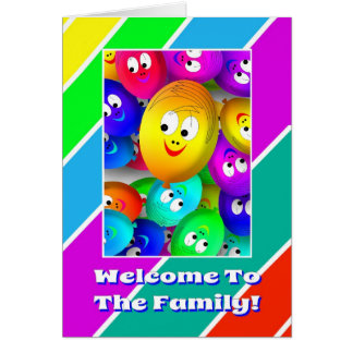 Niedliches Willkommen zur Familie steigt Grußkarte