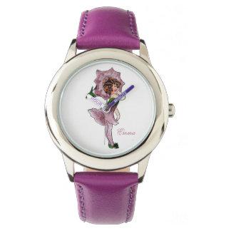 Niedliches Winden-Blumen-Kinderkleines mit Uhr
