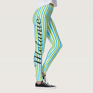 Niedliches Yoga-blaues und grünes Streifen-Muster Leggings