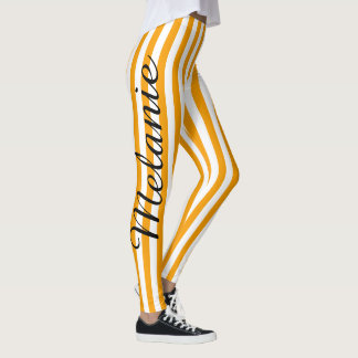 Niedliches Yoga-buntes orange Streifen-Muster Leggings