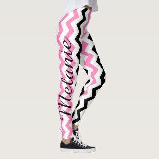Niedliches Yoga-Rosa und schwarzes Zickzack Muster Leggings