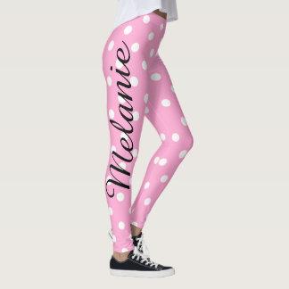 Niedliches Yoga-rosa und weißes Polka Punkt-Muster Leggings
