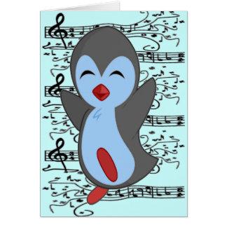 Niedlichster glücklicher Penguin, der zum Musiknot Grußkarten
