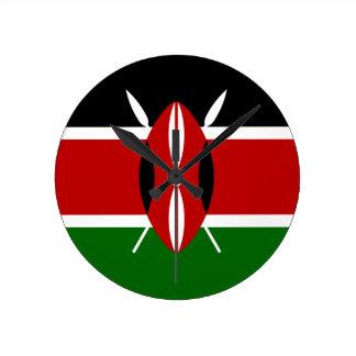 Niedrige Kosten! Kenia-Flagge Runde Wanduhr