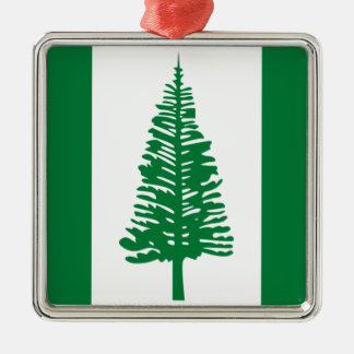 Niedrige Kosten! Norfolk-Insel-Flagge Quadratisches Silberfarbenes Ornament