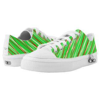 Niedrige Spitzenschuhe im Grün mit Streifen Niedrig-geschnittene Sneaker
