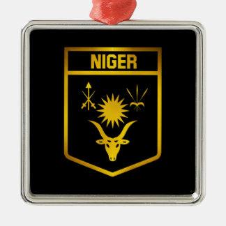Niger-Emblem Quadratisches Silberfarbenes Ornament