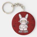 Ninja Häschen! In rotem Keychain Schlüsselanhänger