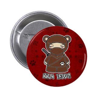 Ninja Teddybär! Im roten Knopf Runder Button 5,1 Cm